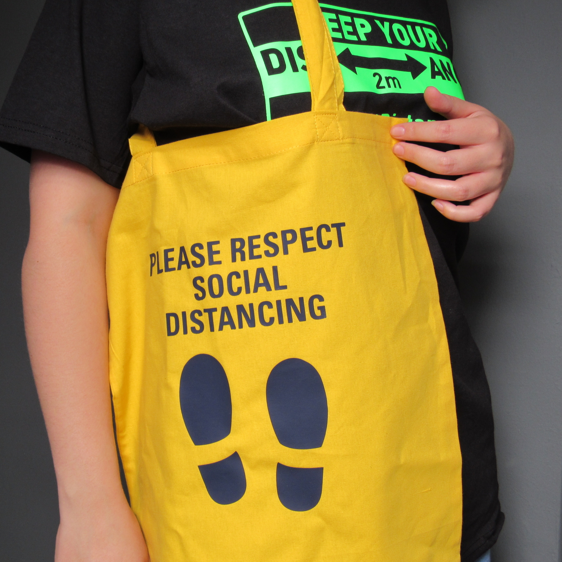 Respect Distancing on Yellow bag