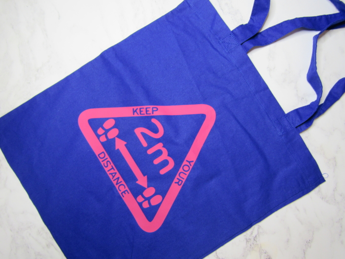 Pink Triangle on Blue Bag