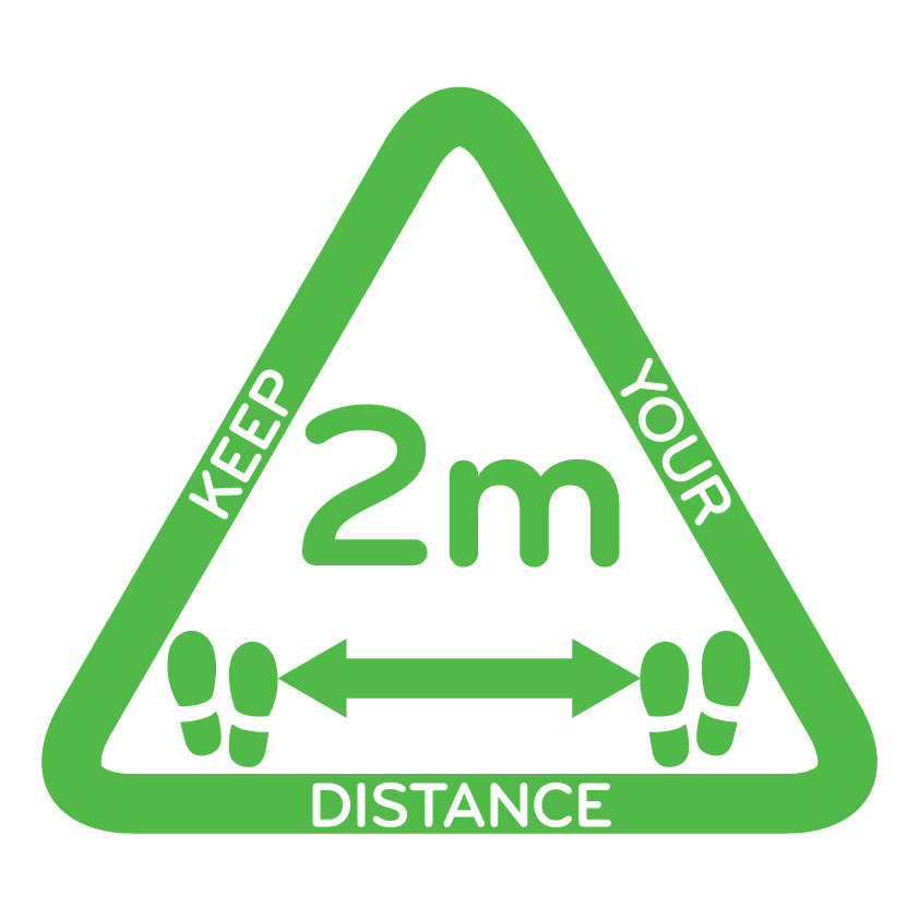 Keep your distance Green Triangle White
