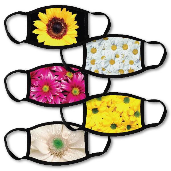 5 face masks - flowers