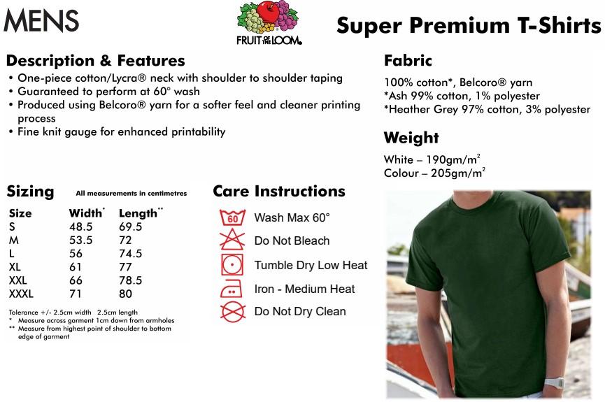 Mens Fruit of the Loom T-shirt info