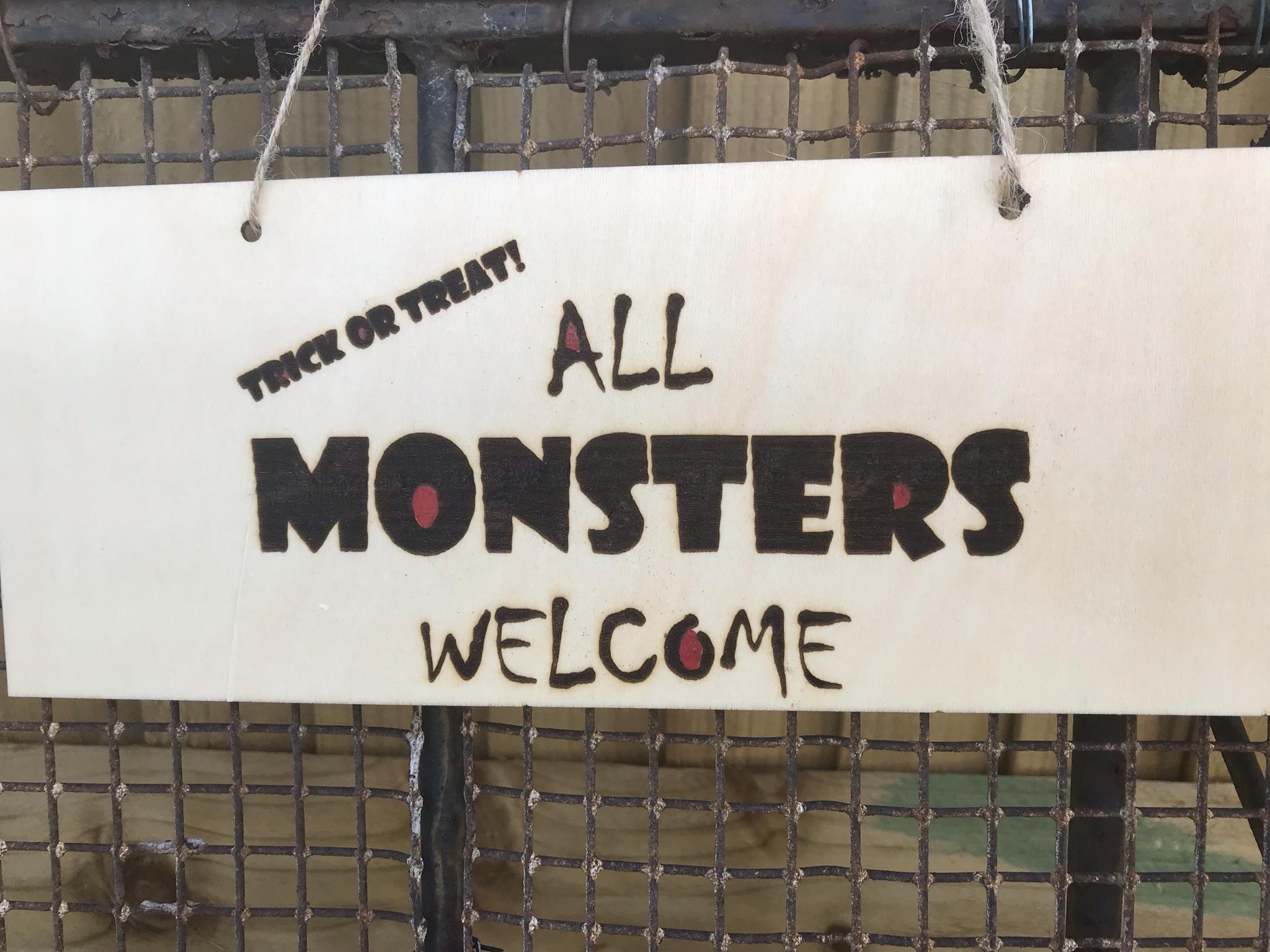 Halloween plaque all monsters welcome