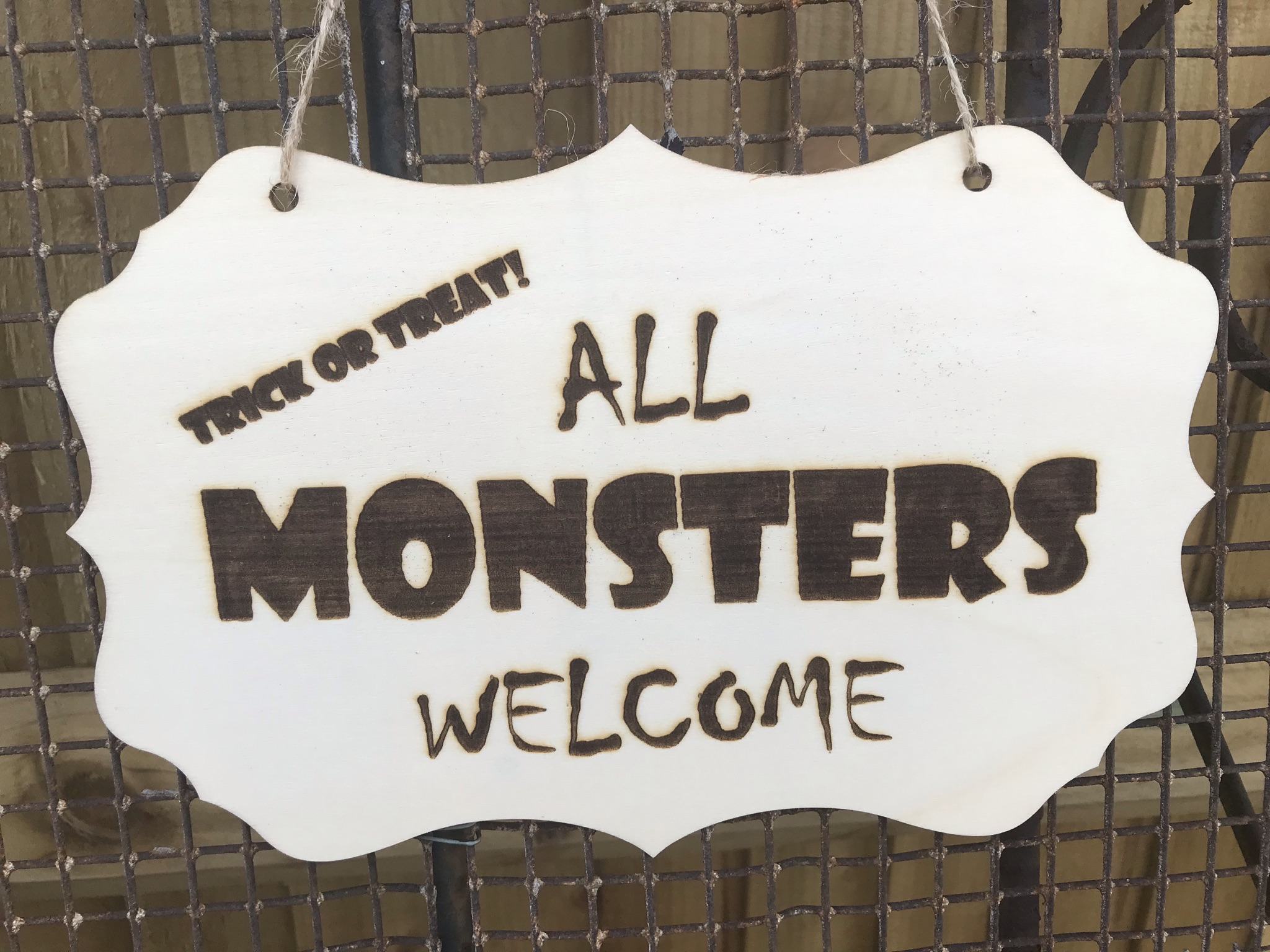 Halloween sign All monsters welcome